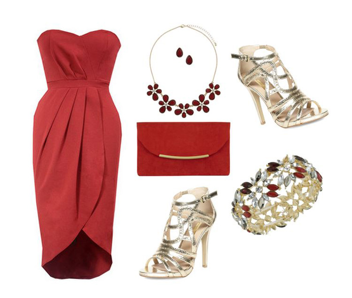 party outfit featuring red strapless wiggle dress