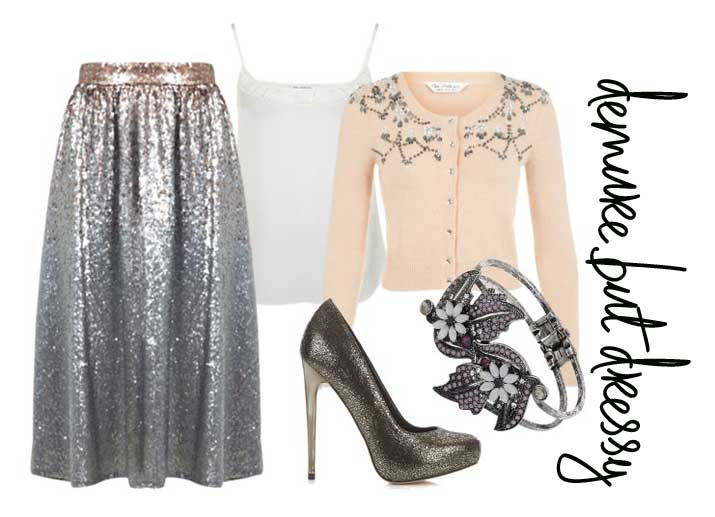 party outfit idea: sequin skirt and embellished cardigan