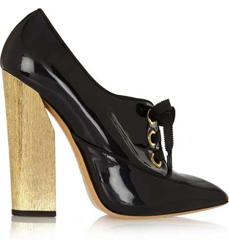 Casadei black patent shoe boots with gold heel