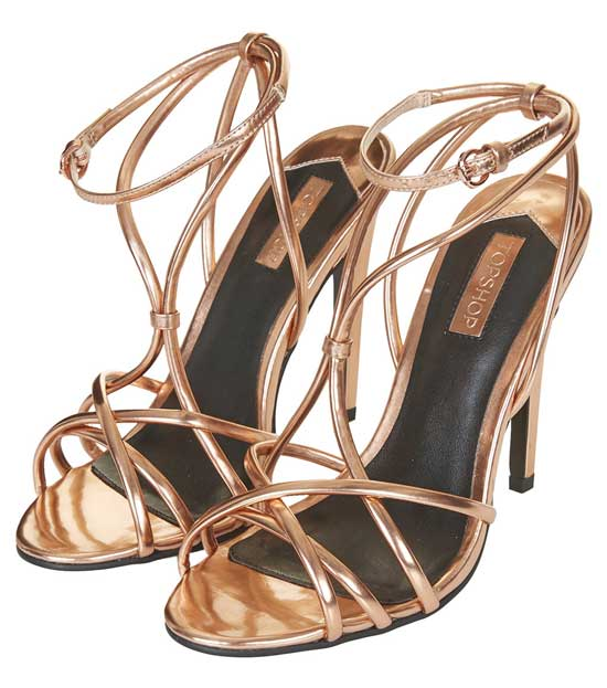 topshop strappy sandals in rose gold