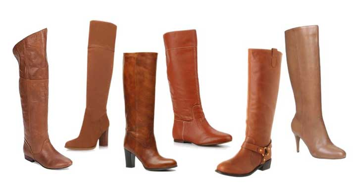 six pairs of tan knee boots