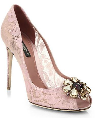 pink lace peep toes