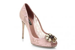 Shoe of the Day | Dolce & Gabbana pink lace peep toes