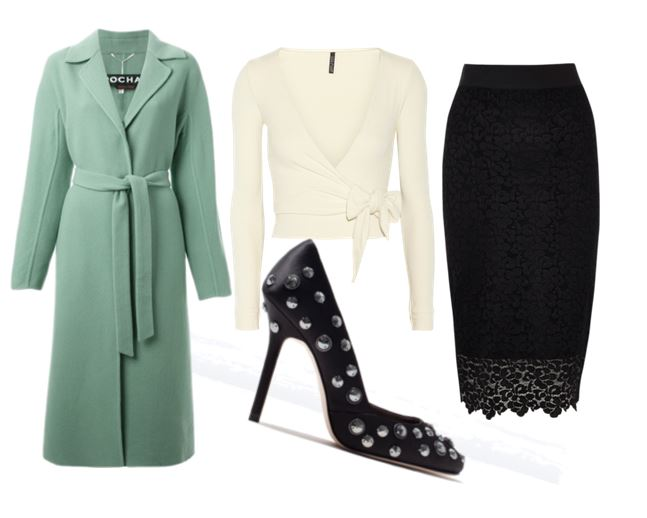 outfit featuring green coat and lace pencil skirt