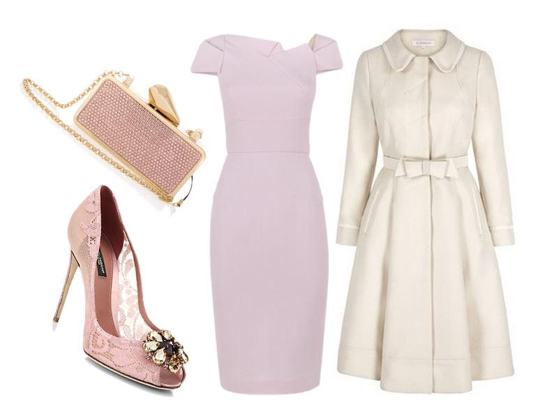 pink dress and 50s style coat