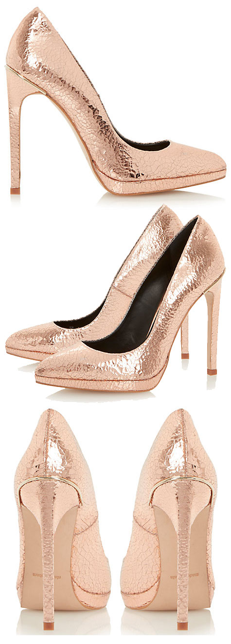 Dune Arabella rose gold court shoes