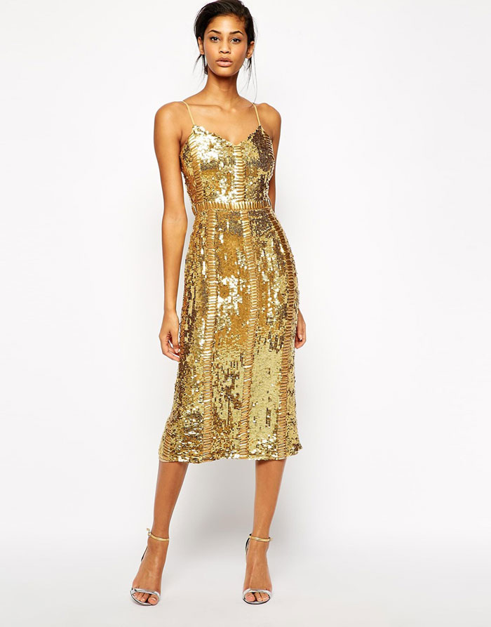 gold sequin party dress