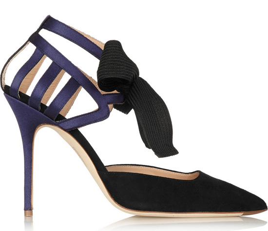 black and navy bow sandals