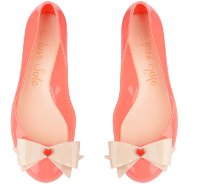 bow front jelly ballet flats