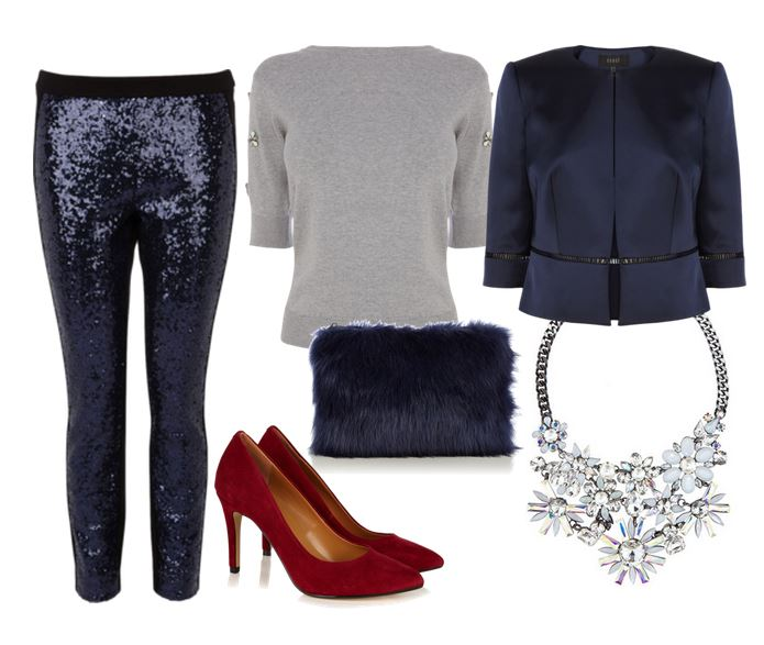 Christmas Party Outfit Ideas: sequin trousers and heels