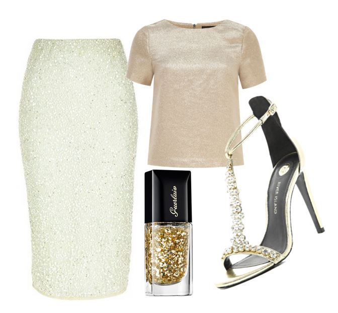 party outfit featuring gild strappy sandals and green sequin pencil skirt - www.ShoeperWoman.com