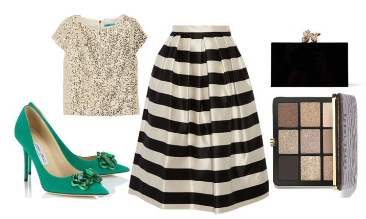 stripe skirt and green shoes