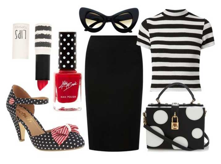 outfit featuring spots, stripes and bows
