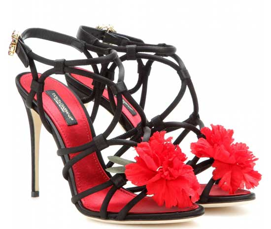 Dolce & Gabbana flower embellished satin sandals