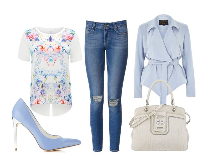 outfit featuring jeans and pale blue shoes