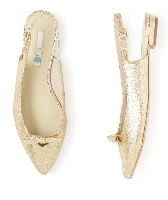 Boden 'Polly Point' gold slingback flat shoes