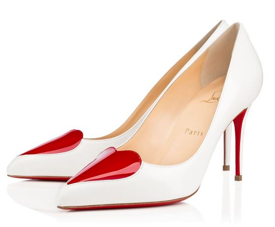 white heart front pumps by Christian Louboutin