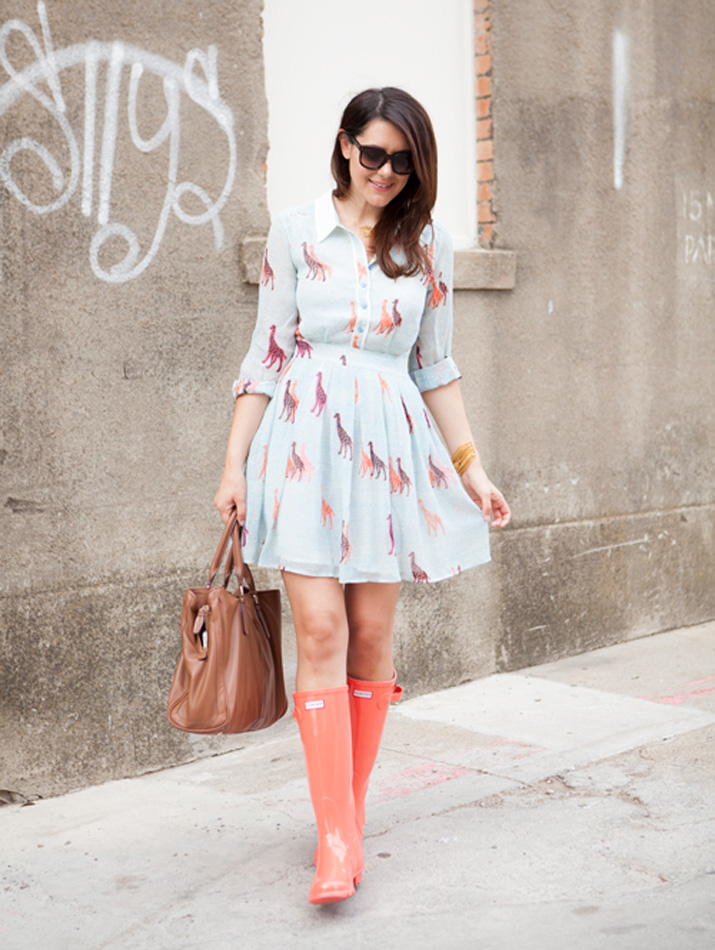 coral Hunter boots and dress