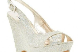 Dune 'Marlborough' gold glitter wedges