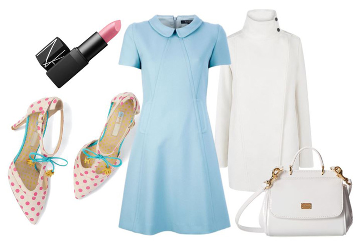 blue mini dress and pink polka dot shoes