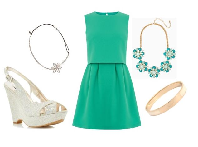 green mini dress and gold wedges