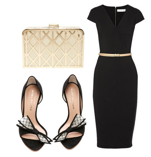 black dress and bow sandals