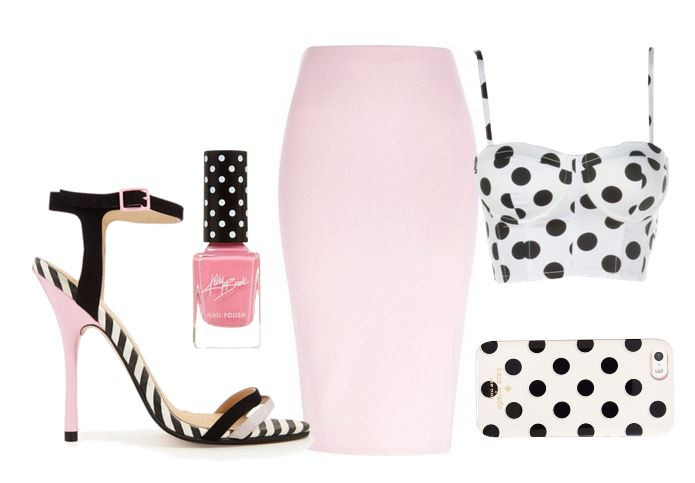 pink skirt and polka dot top with ASOS heeled sandals