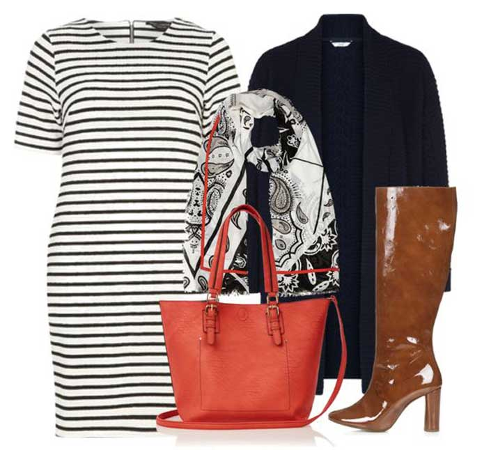 tan boots and stripe dress