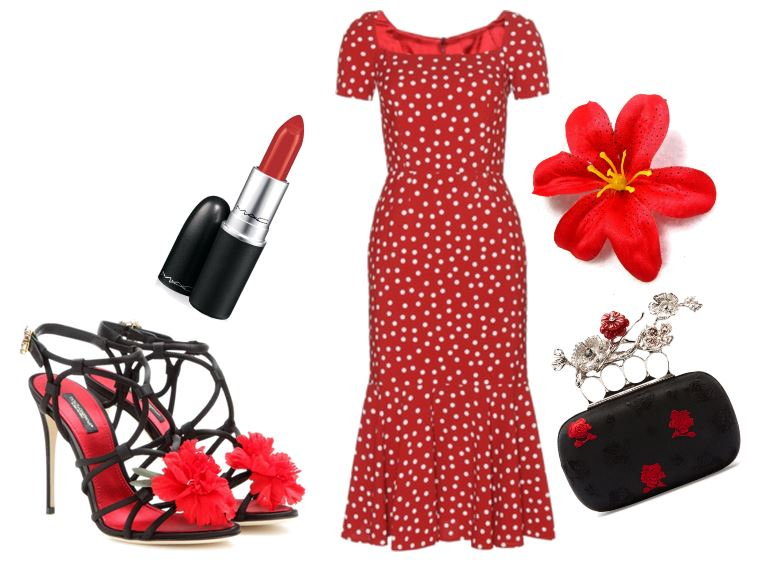 red polka dot dress and floral sandals