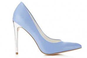 pale blue pointed court shoes