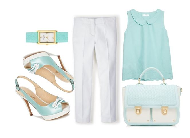 summer outfit featuring mint green sandals
