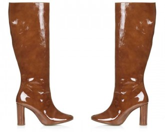 tan patent knee high boots