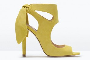 Shoe of the Day | Zara yellow high heel bow sandals