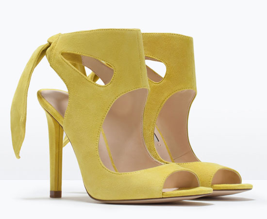 Zara yellow suede bow sandals