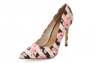 New Look pink floral stripe pointed court shoes