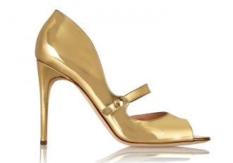 Rupert Sanderson Zelena metallic leather Mary Jane pumps