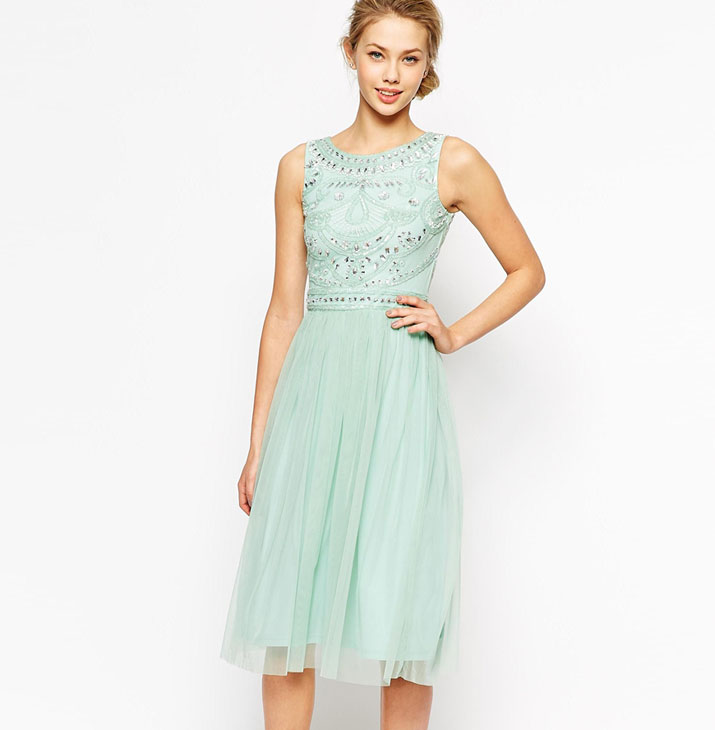 Frock and Frill Embellished Top Midi Skater Dress With Tulle Skirt