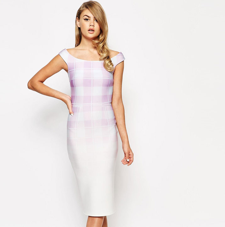 True Violet Scuba Bardot Pencil Dress In Gingham Ombre Print