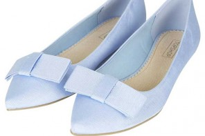 Shoe of the Day | Topshop 'Villa' pale blue grossgrain bow flats