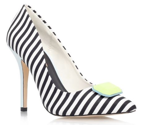 black and white stripe shoes with yellow button