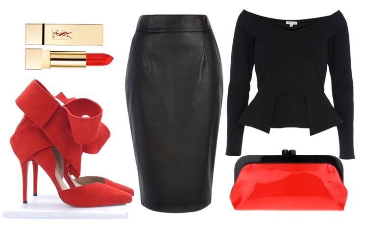 outfit featuring leather pencil skirt and red high heels