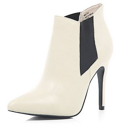 Shoe of the Day | River Island cream leather ankle boots ...