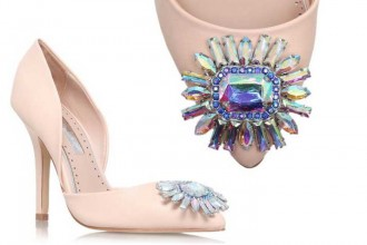 Miss KG 'Evelyn' pale pink pumps with jewel embellishment
