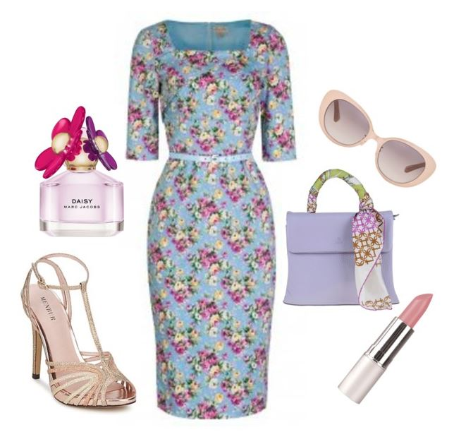 floral dress and strappy sandals