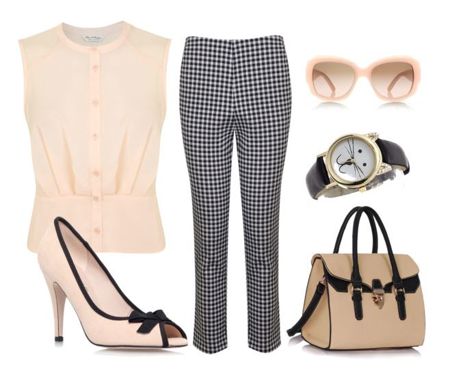 vintage-inspired outfit featuring gingham capri pants and peep toe shoes
