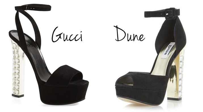 jewelled heels by Gucci and Dune