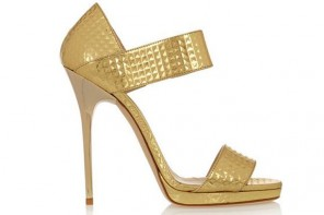 Shoe of the Day | Jimmy Choo 'Lee' embossed metallic leather sandals