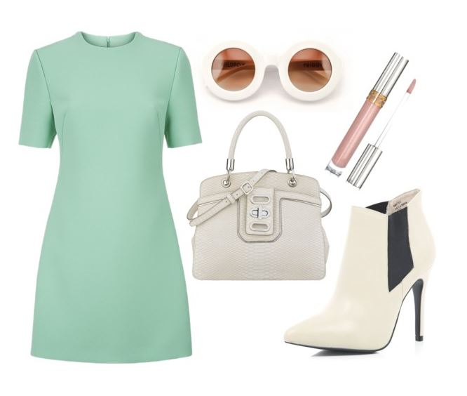 outfit featuring cream ankle boots and mini dress