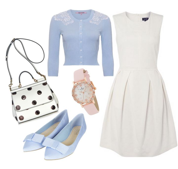 outfit featuring white dress and blue flats