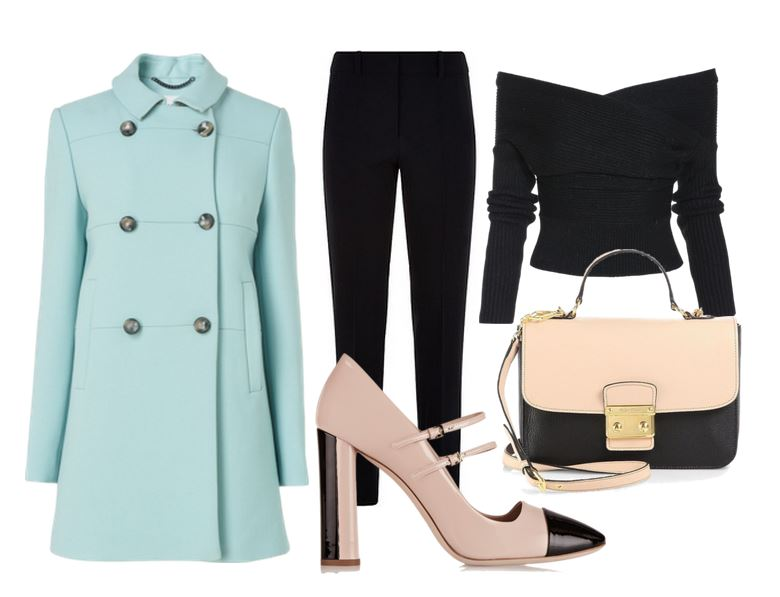outfit featuring mint green coat and two-tone shoes